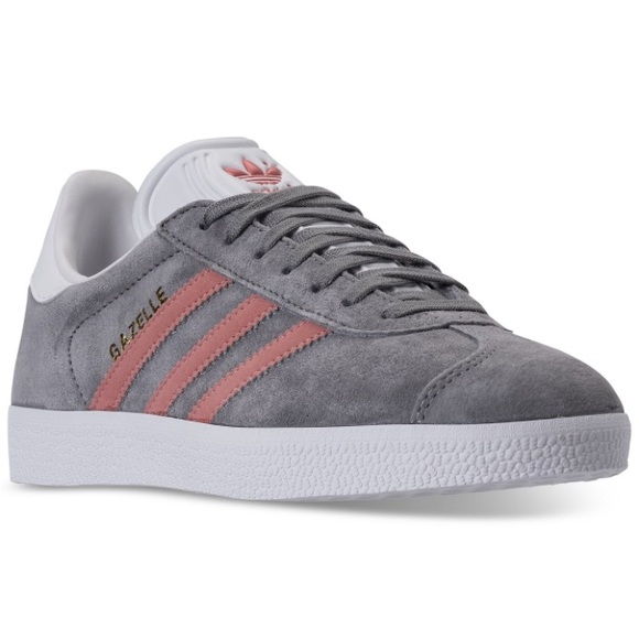 grey adidas trainers with pink stripes